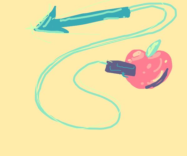An apple firing a harpoon gun