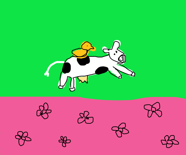 Duck riding a cow as it leaps over flowers