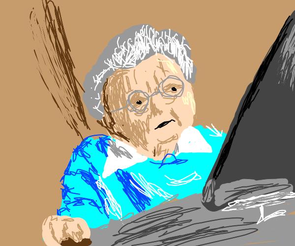 Grandma Using A Computer