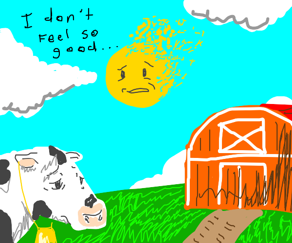Cow watches the sun get thanos snapped