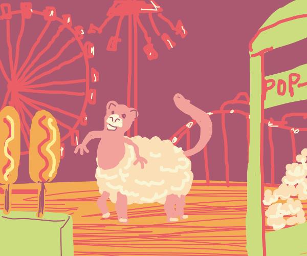 a sheep-monkey hybrid at the carnival