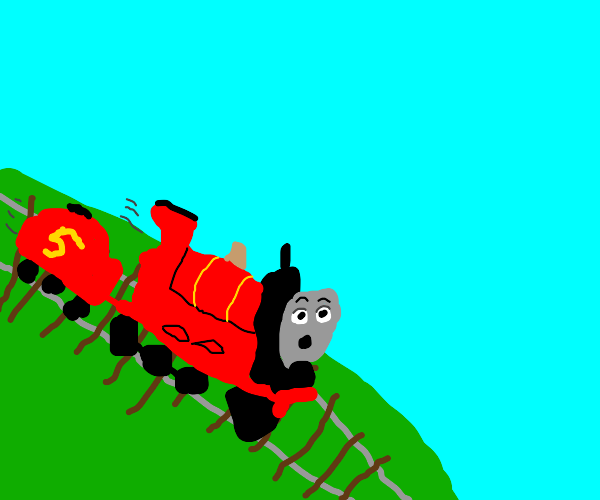 Red Thomas the train goes down hill
