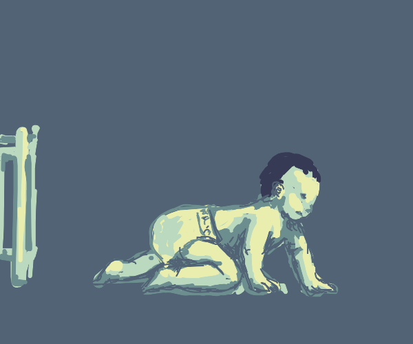 a baby crawling away from its crib