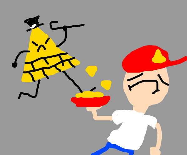 bill cipher kicks a guys nachos from his hand