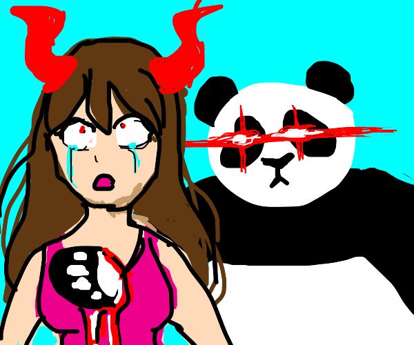 hot devil girl has panda arm through stomach!