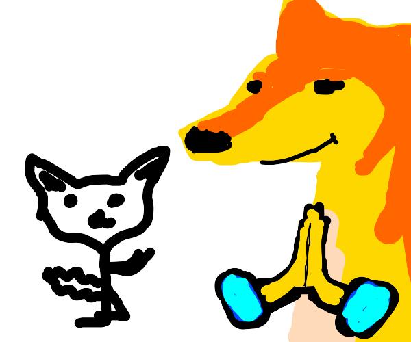 Furry prays with D O R I M E .