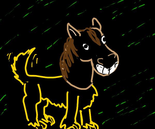 Dog wearing horsemask