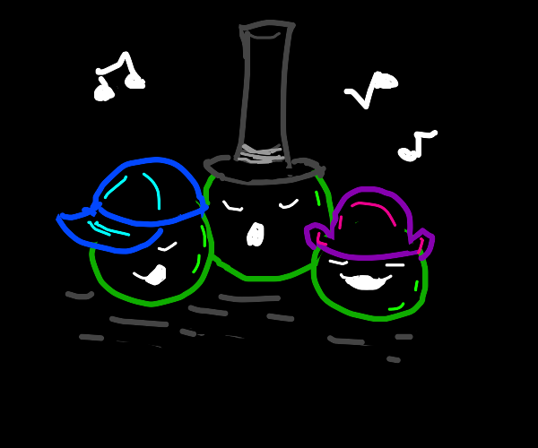Peas singing with cool hats