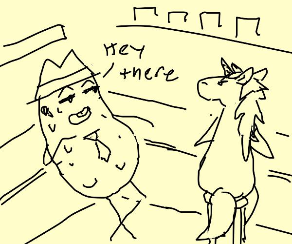 Potato spy hitting on unicorn