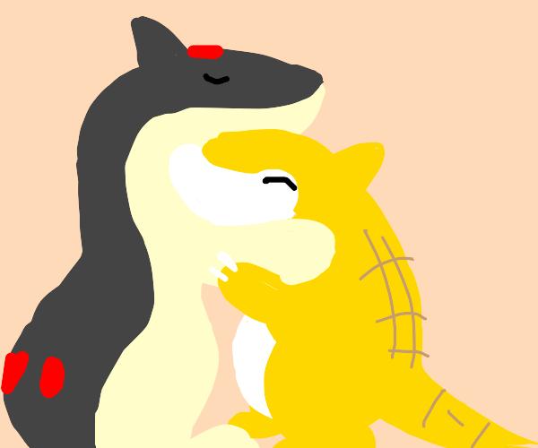 That Quil fire pokemon hugging sandshrew