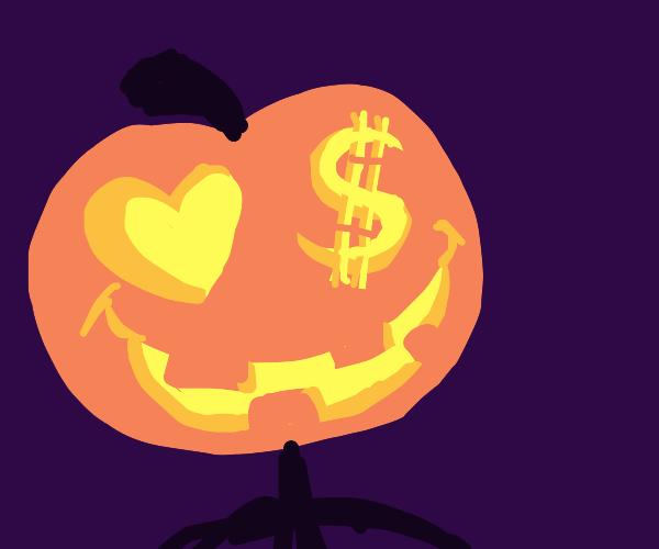 Jack-o-Lantern man loves money