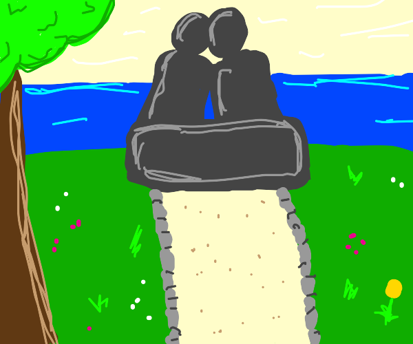 A statue of lovers.