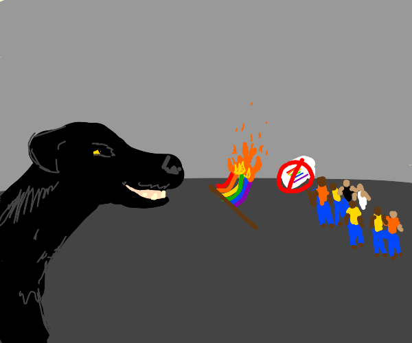 black dog looking at a group of homphobes