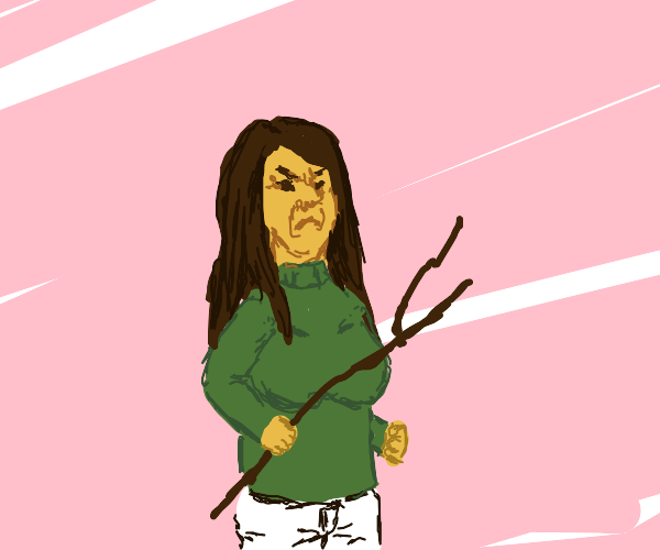 Girl gets angry with a stick