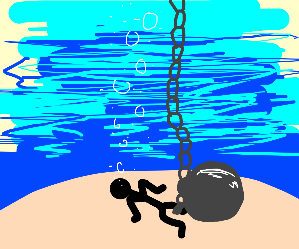 Trapped underwater with ball and chain