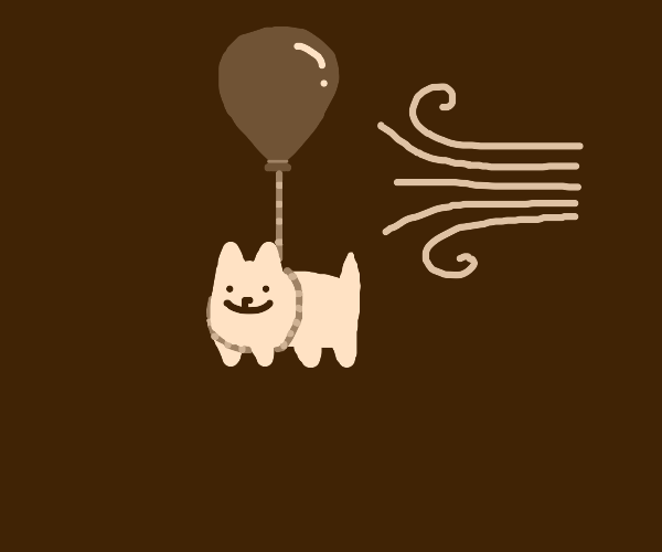 Stuffed dog tied to a balloon