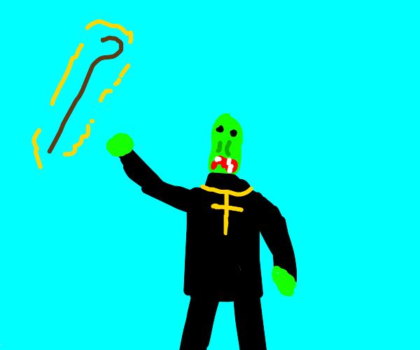 zombie priest with floating shepherd's crook