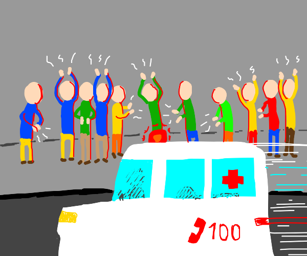People clapping while an ambulance drives by!