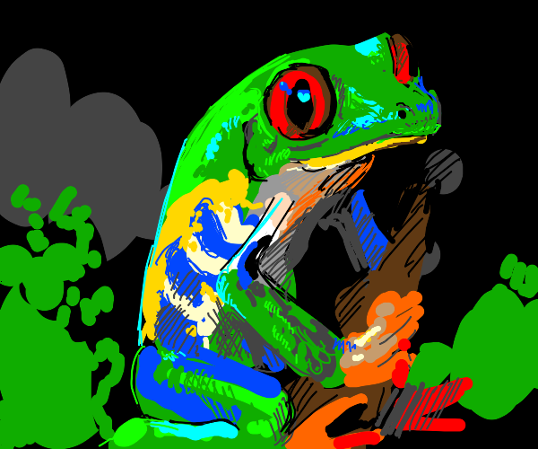 very detailed red-eyed treefrog