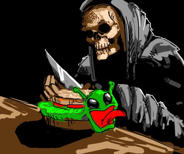 grim reaper makes alien sandwich