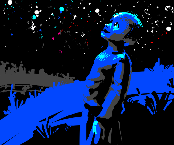 Blue boy star gazing