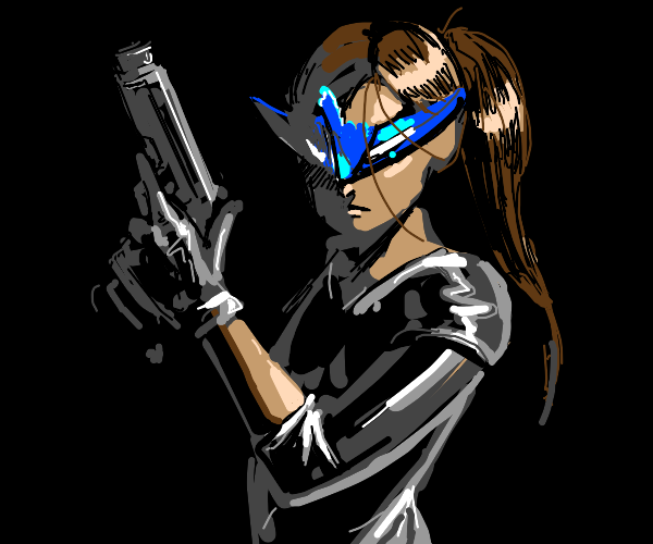 Masked Female character with gun
