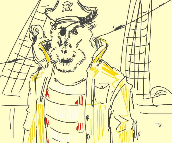 Pirate monkey in yellow rain coat