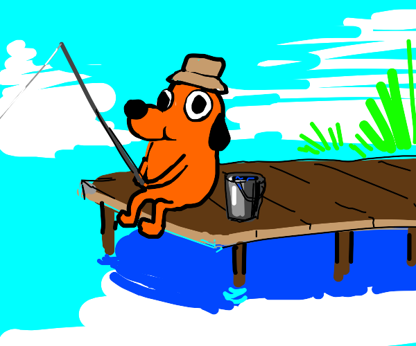 This is fine dog gone fishing