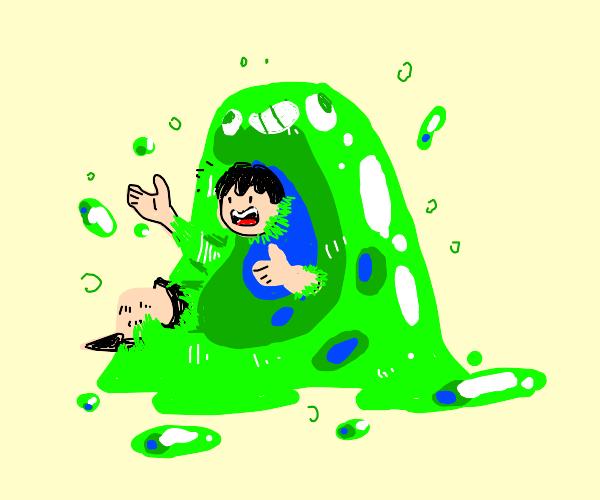 Person dissolving inside of slime monster
