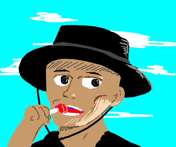 Man with black spanish hat eating Red popsick