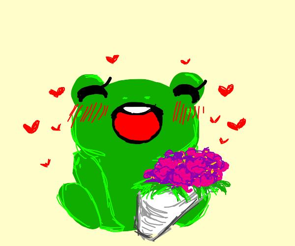 Big ole frog loves flowers