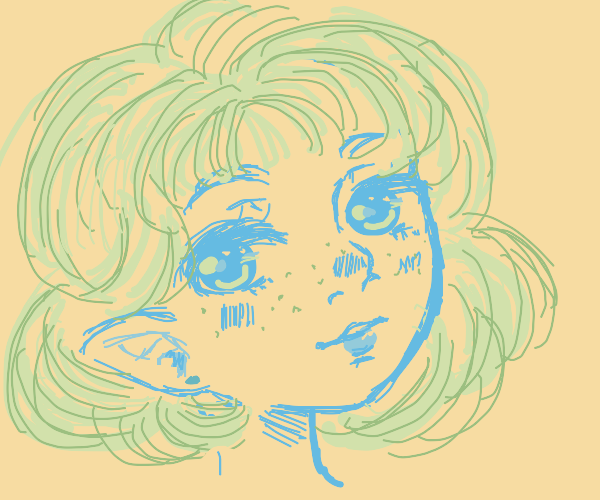 Green haired elf girl with freckles