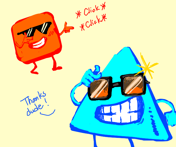 Square complements triangle's sunglasses