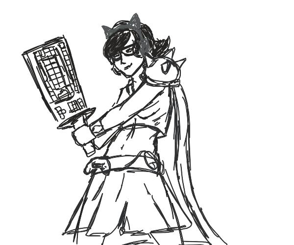gamer girl superhero with a keyboard sword