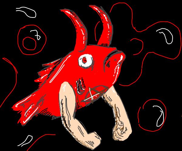 Satanic demon fish with arms