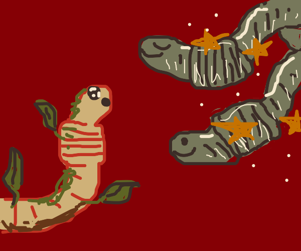 an earthworm visiting moonworms