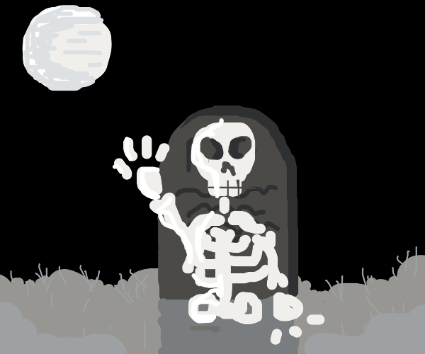Skeleton coming out of the grave