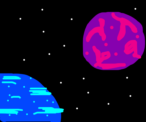 purple and blue planet in space