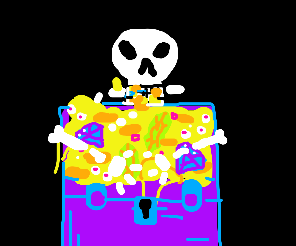 Skeleton eats gold from treasure chest
