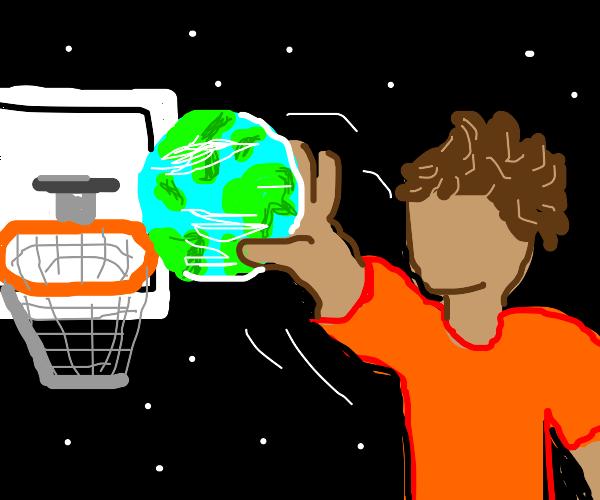 orange shirt man dunks the planet