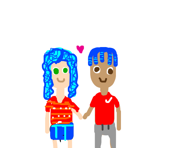 A couple. They have blue hair and red t-shirt