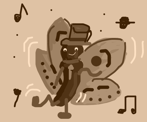 a butterfly man with a hat dancing