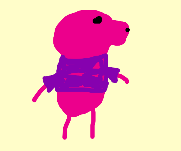 Peppa pig in a purple shirt