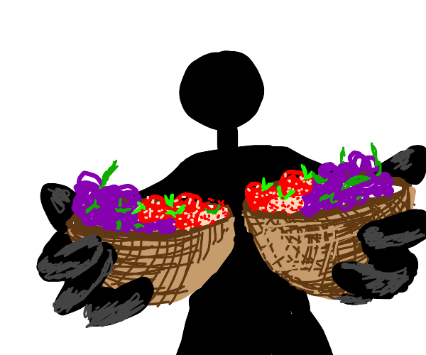 Stickman with bowls of grapes and strawberrys