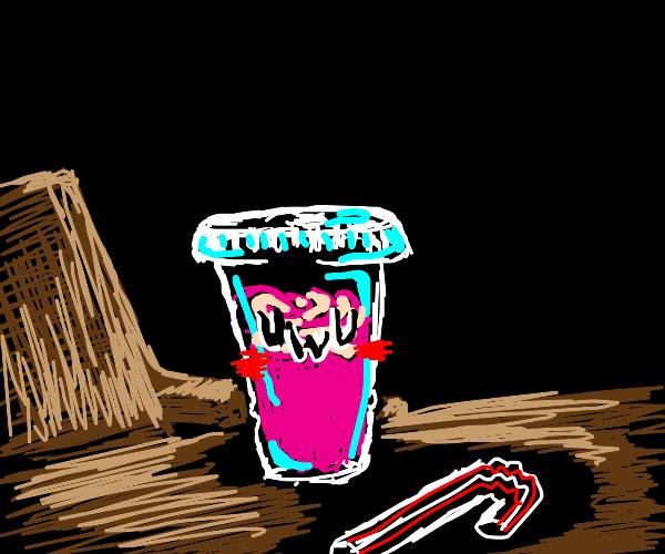 UwU face pink slurpie with straw on tabe