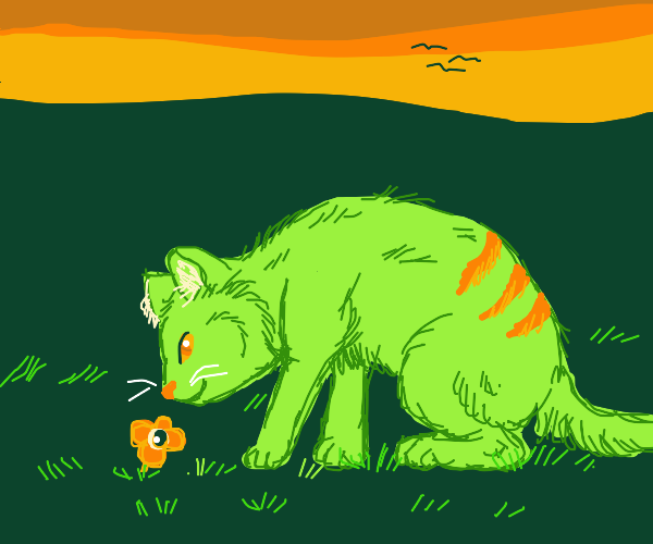 Green cat sniffing that good stuff - flowers