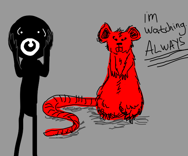 guy gets scared by red rat