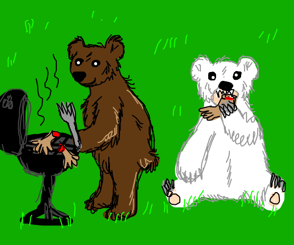 Grizzly bear barbecues while polar bear eats