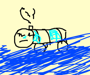 Thomas the train is drowning