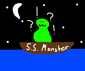 spooky green monster stranded in a boat